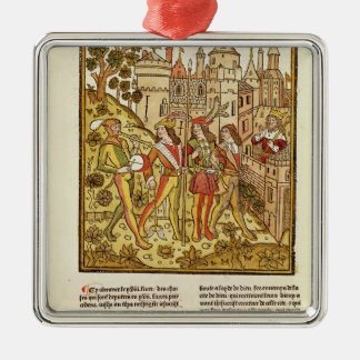 The City of God and the City of This Century Silver-Colored Square Decoration