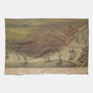The City of New Orleans Louisiana from 1885 Tea Towel