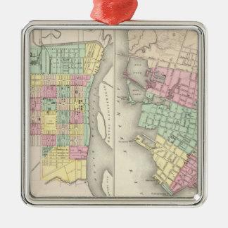 The City Of Savannah Georgia Silver-Colored Square Decoration