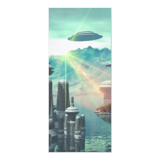 The city of the future on the ocean 10 cm x 24 cm invitation card