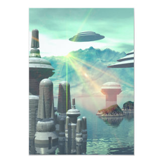 The city of the future on the ocean 13 cm x 18 cm invitation card