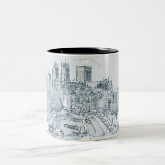 The City of York in pencil Two-Tone Coffee Mug