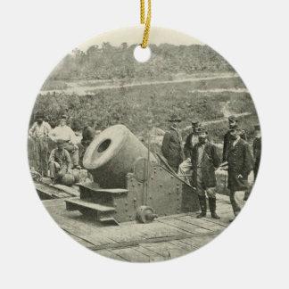 The Civil War Dictator Siege Mortar at Petersburg Round Ceramic Decoration