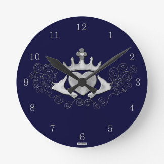 The Claddagh (Silver) Round Clock