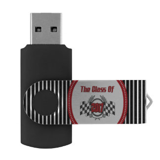 The Class of 2017 Graduation Checkered Flag USB Flash Drive