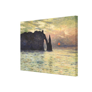The Cliff, Etretat, Sunset by Claude Monet Gallery Wrap Canvas