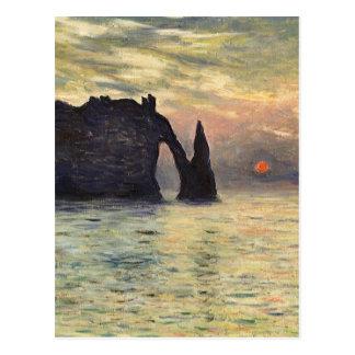 The Cliff Etretat, Sunset by Claude Monet Postcard