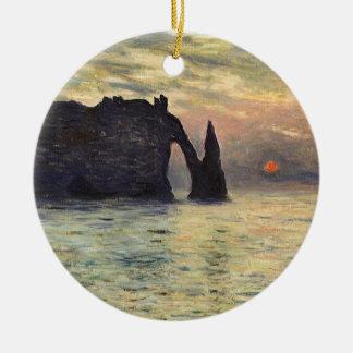 The Cliff Etretat, Sunset by Claude Monet Round Ceramic Decoration