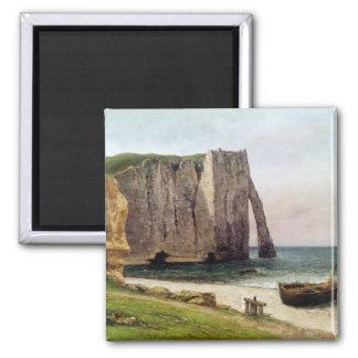 The Cliffs at Etretat, 1869 Square Magnet