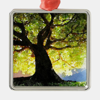 The Climbing Tree Silver-Colored Square Decoration