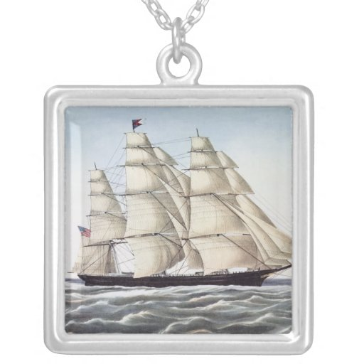"""The Clipper Ship """"Flying Cloud"""" Square Pendant Necklace"""