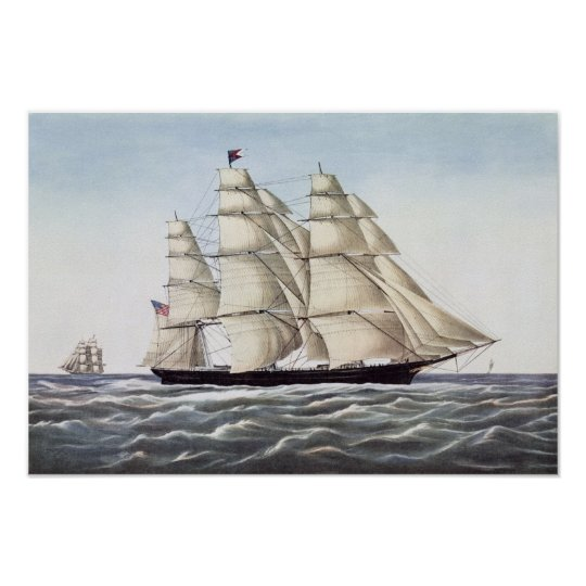 """The Clipper Ship """"Flying Cloud"""" Poster"""