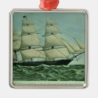 The Clipper ship 'Highflyer', 1111 tons Silver-Colored Square Decoration
