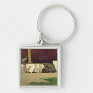 The Cloister (oil on canvas) Silver-Colored Square Key Ring