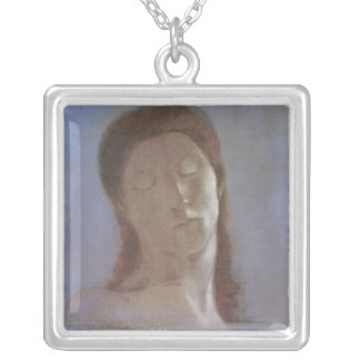 The Closed Eyes, 1890 Silver Plated Necklace