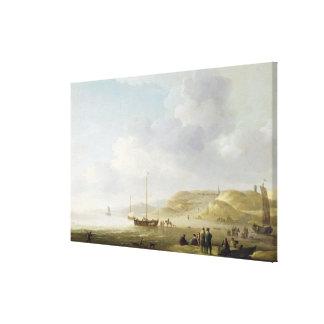 The Coast Near Scheveningen with Fishing Pinks on Canvas Print