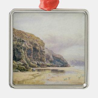 The Coast of Cornwall Silver-Colored Square Decoration