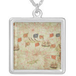 The Coast of Turkey and Cyprus Square Pendant Necklace