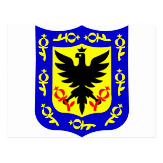 The coat of arms of Bogota, Colombia. Postcard