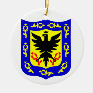 The coat of arms of Bogota, Colombia. Round Ceramic Decoration