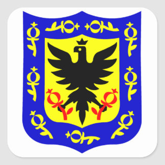 The coat of arms of Bogota, Colombia. Square Sticker