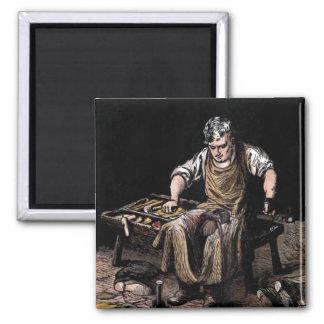 """""""The Cobbler"""" Vintage Illustration Square Magnet"""