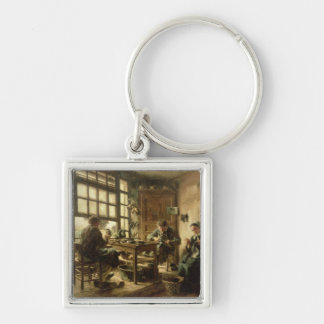 The Cobblers, 1880 Silver-Colored Square Key Ring