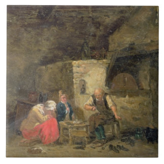 The Cobbler's (oil on panel) (pair of 134462) Large Square Tile