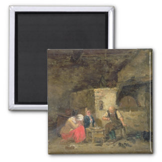 The Cobbler's (oil on panel) (pair of 134462) Square Magnet