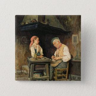 The Cobbler's Shop, 1874 (oil on panel) 15 Cm Square Badge
