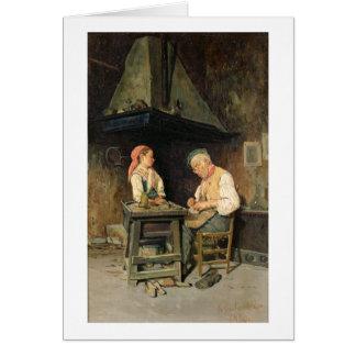 The Cobbler's Shop, 1874 (oil on panel) Card