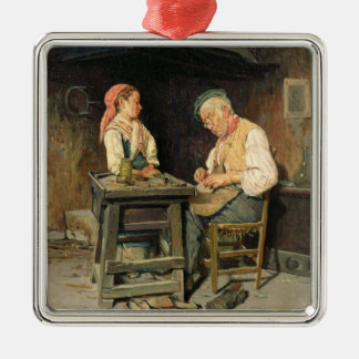 The Cobbler's Shop, 1874 (oil on panel) Christmas Ornament