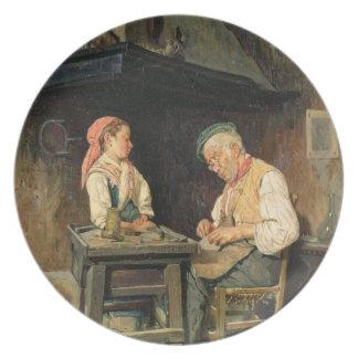 The Cobbler's Shop, 1874 (oil on panel) Dinner Plates