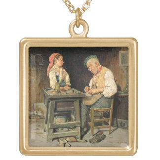 The Cobbler's Shop, 1874 (oil on panel) Gold Plated Necklace