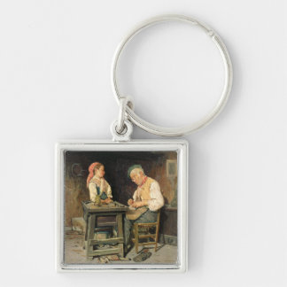 The Cobbler's Shop, 1874 (oil on panel) Key Ring