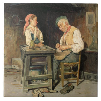 The Cobbler's Shop, 1874 (oil on panel) Large Square Tile