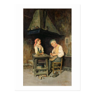 The Cobbler's Shop, 1874 (oil on panel) Postcard