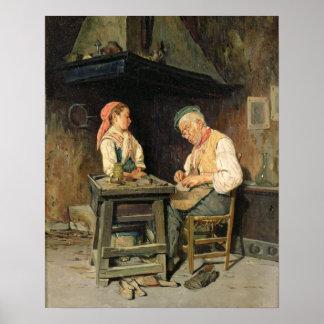 The Cobbler's Shop, 1874 (oil on panel) Poster