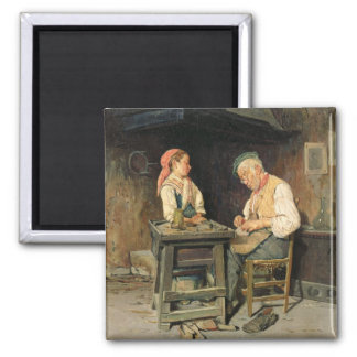 The Cobbler's Shop, 1874 (oil on panel) Square Magnet