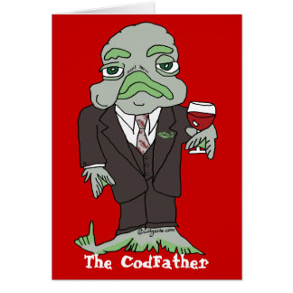 The Codfather Cartoon Fish Custom Greeting Card