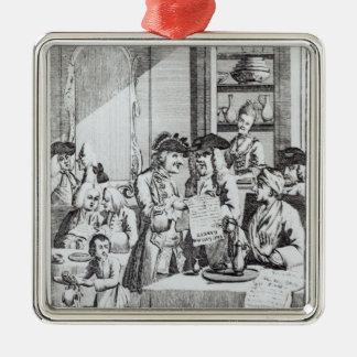 The Coffee House Politicians Silver-Colored Square Decoration