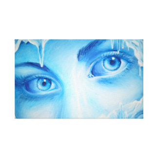 The cold blue eyes of winter stretched canvas prints