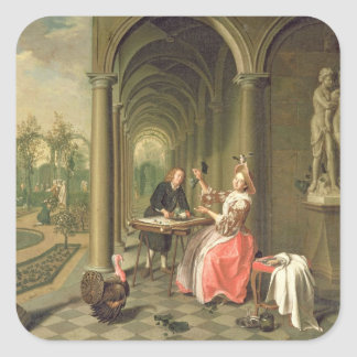 The Colonnade of a Country House with a Lady seate Square Sticker