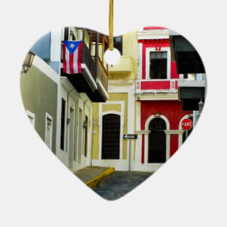 the color of old San Juan Puerto Rico Ceramic Heart Decoration