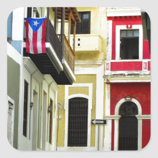 the color of old San Juan Puerto Rico Square Sticker