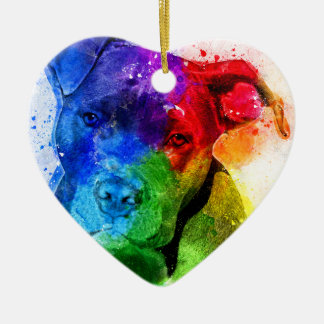 The colors of Love are a Pitbull Christmas Ornament