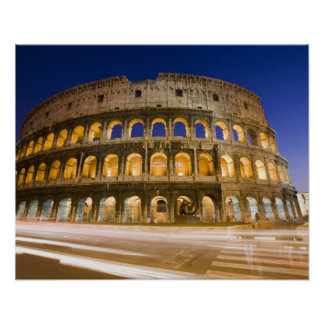 the Colosseum ampitheatre illuminated at night 2 Poster
