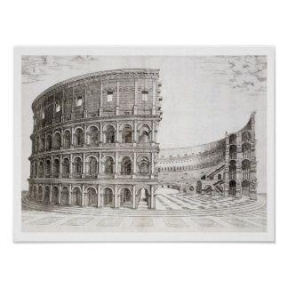 The Colosseum, built in AD 80 (engraving) Poster