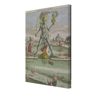 The Colossus of Rhodes, detail of the statue strad Canvas Print