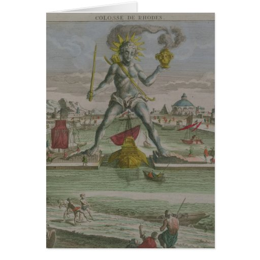 The Colossus of Rhodes, detail of the statue strad Greeting Cards